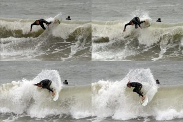sequence of surfer on wave